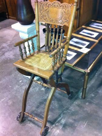 antique baby high chair w steel wheels for sale in. Black Bedroom Furniture Sets. Home Design Ideas