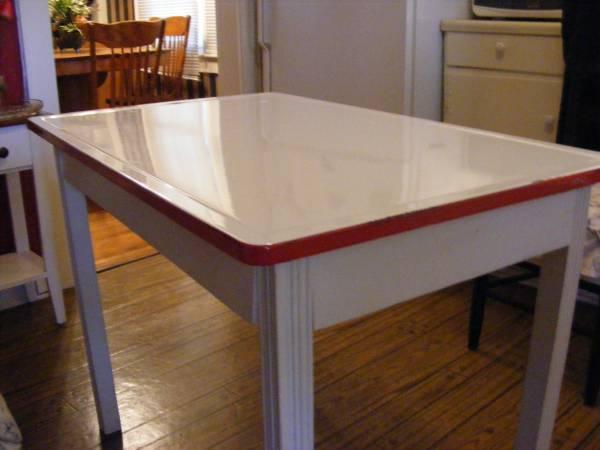 Antique Baker S Table With Porcelain Enamel Top For