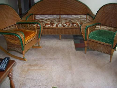 Antique Bar Harbor Wicker Set For Sale In Center Moreland