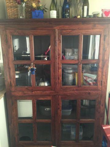 Antique Bookshelf Cupboard Dark Brown