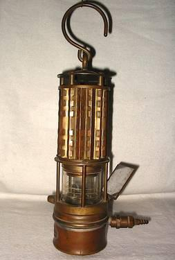 Antique Brass Glass Wolf Gas Detection Mining Safety Lamp