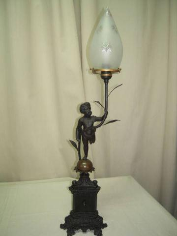 antique britannia metal victorian cherub lamp 2 available for sale in. Black Bedroom Furniture Sets. Home Design Ideas