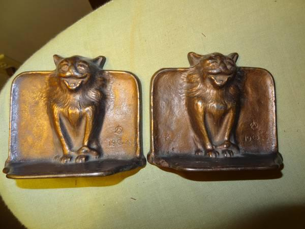 Antique Bronze 1923 Gothic Cat Bookends Snead Co Jersey City Nj For Sale In Raleigh North