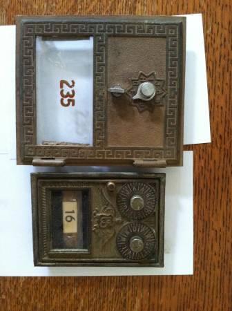 Antique Bronze Post Office Box Doors   $40