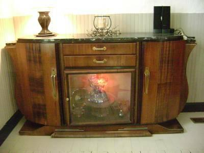 ANTIQUE BUFFET SIDEBOARD CABINET FRENCH ART DECO MARBLE