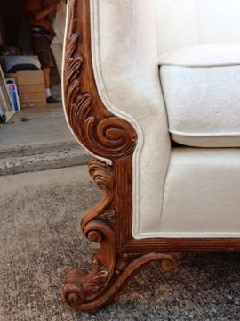 Incredible Antique Camelback Sofa With White Upholstery And Flemish Inzonedesignstudio Interior Chair Design Inzonedesignstudiocom