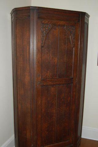 Antique Carved Oak Hall or Single Wardrobe