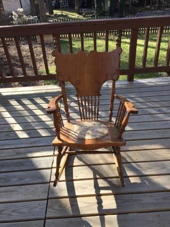 Antique Carved Wooden Rocking Chair With Embroidered