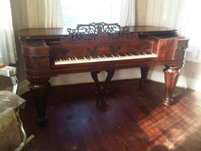 Antique chickering square grand piano for sale in wallis for How big is a grand piano