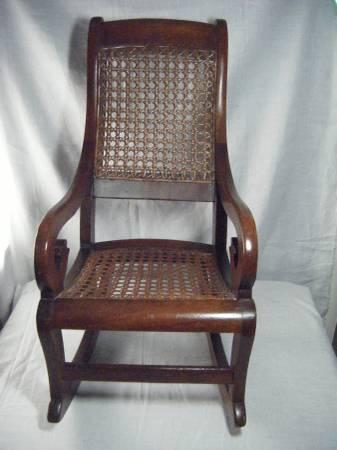 Antique Child Or Doll Rocking Chair Wood With Cane Seat