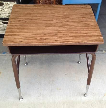 Antique Child's School Desk with brown metal legs - - Antique Child's School Desk With Brown Metal Legs - For Sale In
