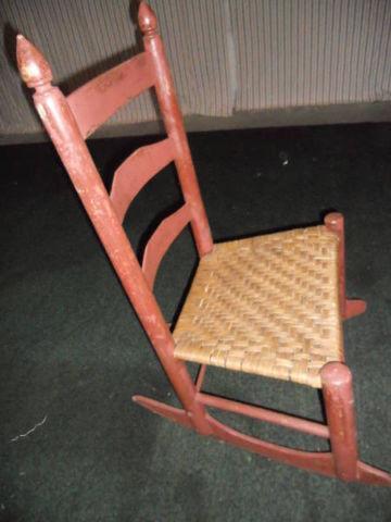ANTIQUE CHILDS ROCKING CHAIR 1800u0027S ORIGINAL PAINT AND & ANTIQUE CHILDS ROCKING CHAIR 1800u0027S ORIGINAL PAINT AND RUSH SEAT ...