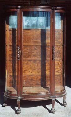 Antique China Cabinet Curved Front Tiger Oak For Sale