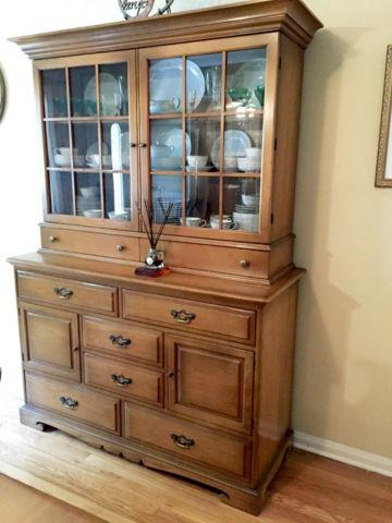 Antique China Cabinet Hutch Unique Furniture Makers Usa Solid Wood For Sale In Mineola New