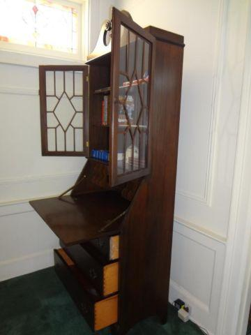 Antique Combo Drop Front Secretary Desk Display Storage Cabinet For Sale In Brooklyn New York