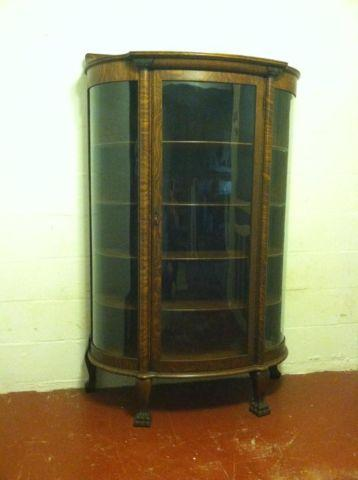 Antique Curved Glass Oak China Cabinet
