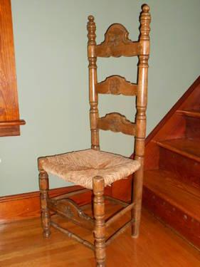 Antique Dining Chairs (8)   Tall Ladder Back With Rush