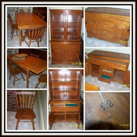 Antique Dining Room Set Buffet, China Closet, Table  Chairs  Extra