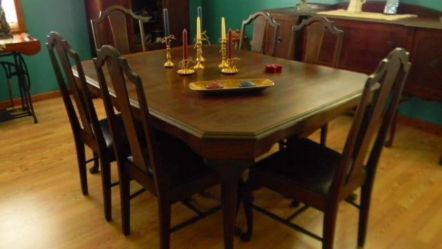 Antique Dining Room Set Solid Walnut By Louisville Chair