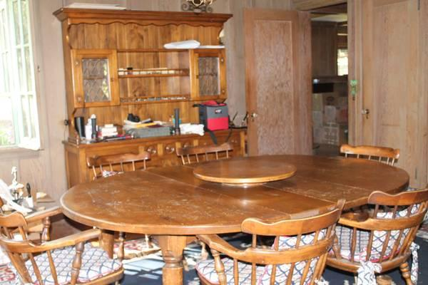 Antique Dining Table, Hutch, Sideboard and chairs -