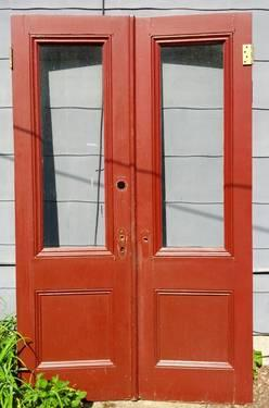 Antique Double Entry Exterior Doors With Glass