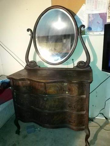 Large Carved Wooden Mirror