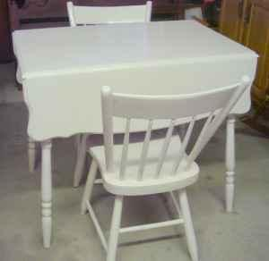 Antique Drop Leaf Table W Two Chairs Off White Middleburg Pa
