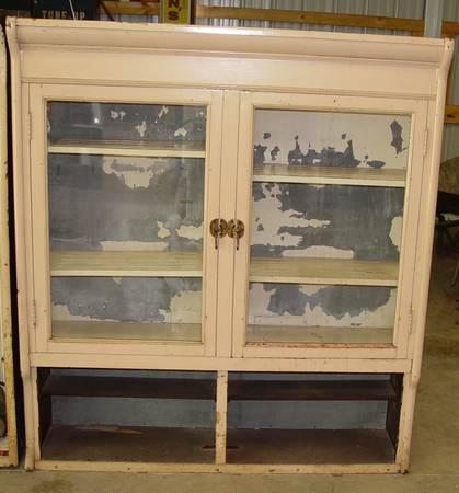 Antique Drug Store Wood Display Cabinet Glass Doors Galvanized