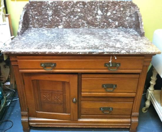 Antique dry sink with marble top for sale in jensen for Antique stone sinks for sale