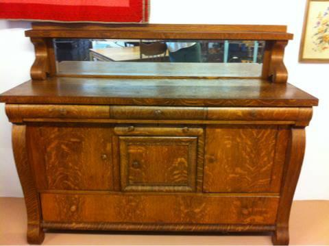 Antique Empire Style Tiger Oak Sideboard Buffet For Sale