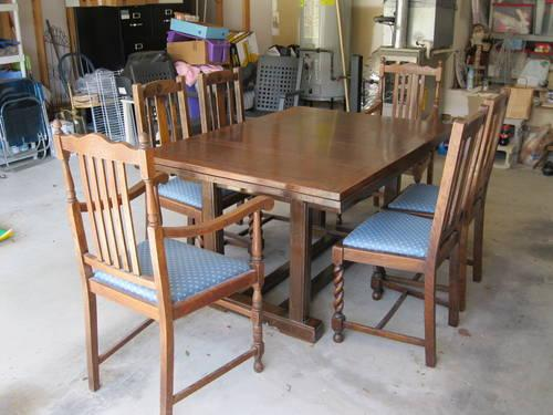 Antique English Draw Leaf Solid Oak Dining Table And Chairs For Sale In Antioch Tennessee
