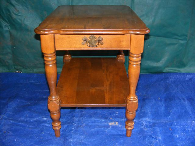 Antique Ethan Allen Oak Single Drawer End Table