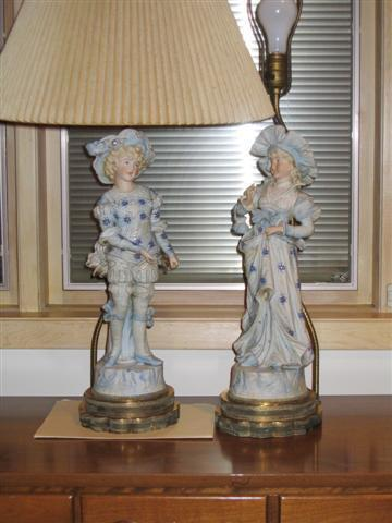 Antique Figurine, boy and girl lamps plus many more estate sale items.