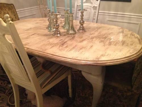 Antique French Country Painted Dining Or Kitchen Table With Chairs For Sale I