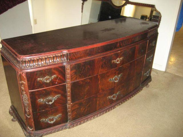 Antique French Rococo Style Flamed Mahogany Dresser w wall Mirror