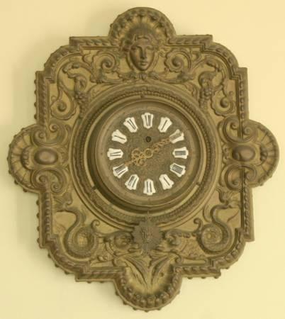 Antique French Wall Clock Farcot Movement With Putti Or