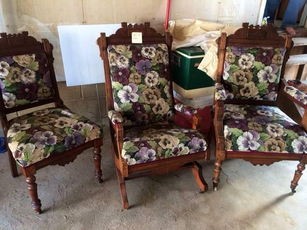 Antique furniture living estate sale  Eastlake set. Antique furniture living estate sale  Eastlake set  Hoosier
