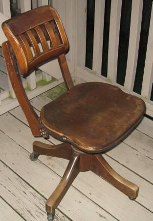 Antique Gunlocke Secretary Wooden Desk Office Chair Swivel