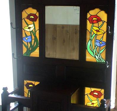 Antique Hall Tree Stained glass windows and Cabinet Bandon, Or