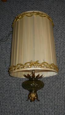 Antique hanging swag lamp with stylish decorative molded glass