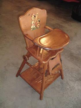 Antique high chair highchair hichair hi chair converts to desk 1930s for sale in inwood indiana