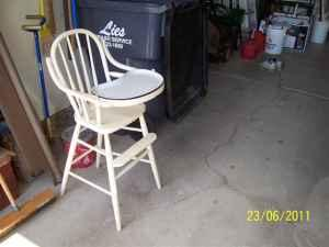 Antique High Chair W Porcelain On Metal Tray Ne Wichita For
