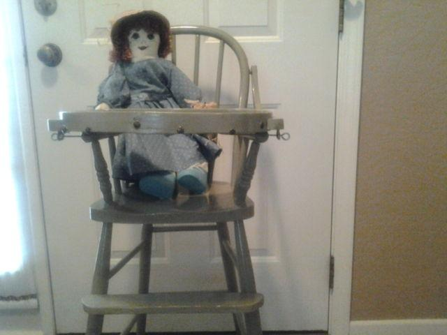 Antique High Chair with Vintage Doll - Antique High Chair With Vintage Doll For Sale In Aurora, Illinois