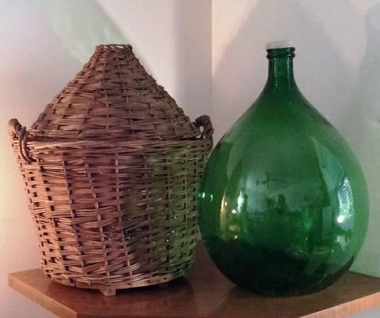 Antique Huge Wine Carboy Demijohn In Basket W Lid For