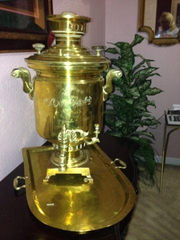 Antique Imperial Russian Brass Samovar With Accompanying