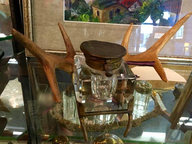 Antique Inkwell With Deer Horns