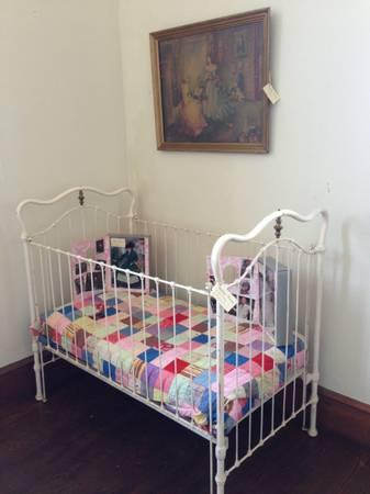 Antique Iron  Brass Baby Bed - $300