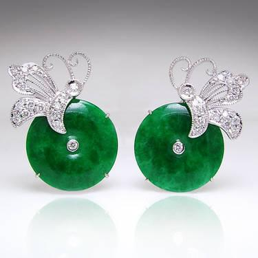 Antique Jade & Diamond Filigree Button Earrings 18K