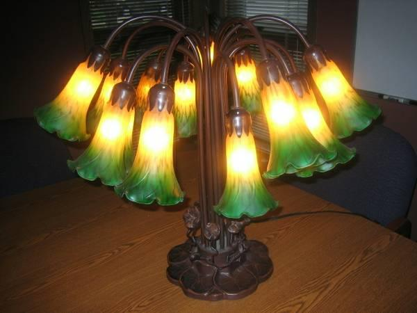 ANTIQUE LAMP, 15 LIGHT LILY PAD LAMP, TIFFANY