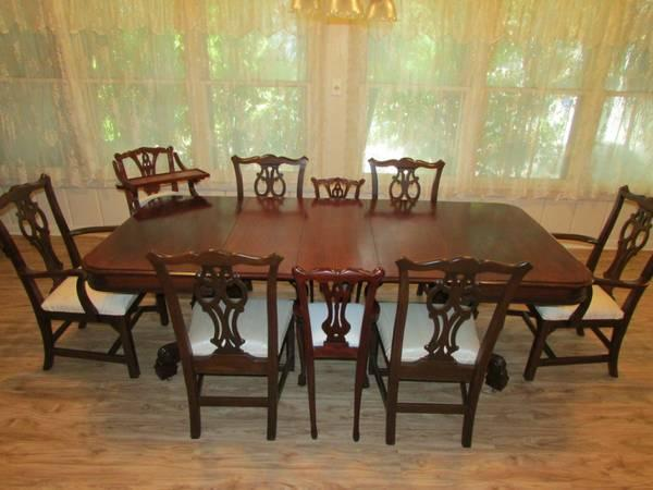 antique mahogany dining table with 6 ethan allen chairs etc for sale